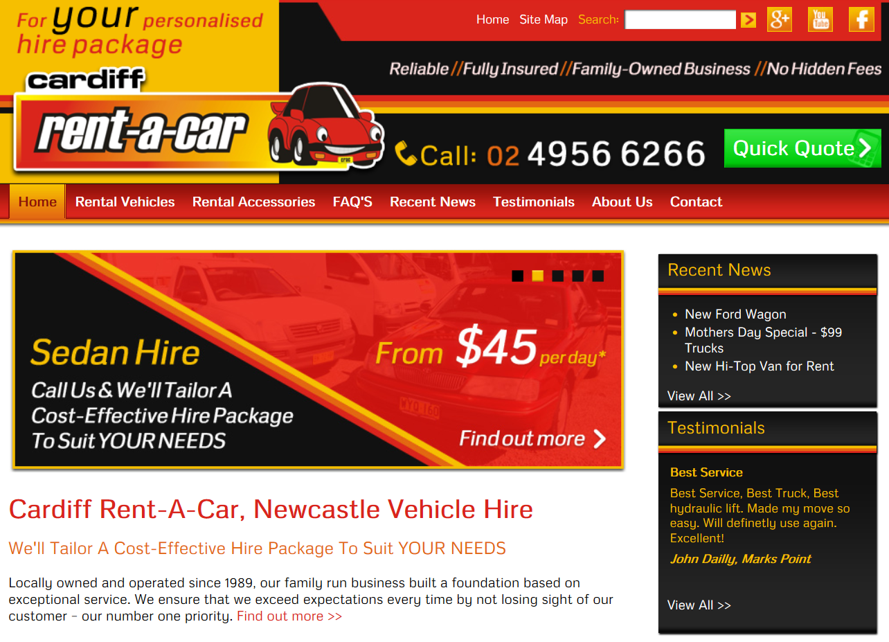 "Cardiff rent-a-car is proud to launch its brand new website. Reflecting the company's expansion and growth over the past 24 months, our new website will allow our customers easy access to all Cardiff Rent-a-Car services. It will also be full of the latest news and special offers from the Cardiff Rent-a-Car team. Don't forget to ""like"" our facebook page to ensure you are the first to know about what is happening at Cardiff Rent-a-Car."